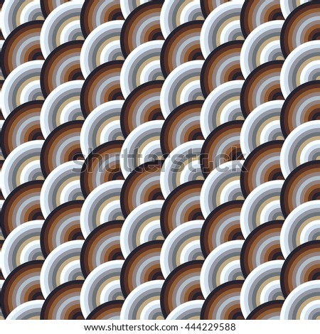 Vector seamless pattern of semi circles in squama style. Abstract geometric background in pastel colors.