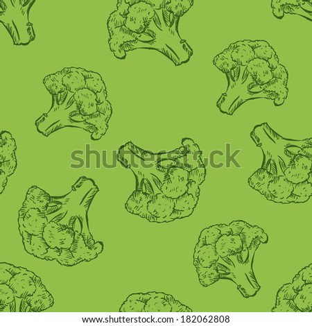 Vector Seamless Pattern of Sketch Broccoli on Green Background - stock vector