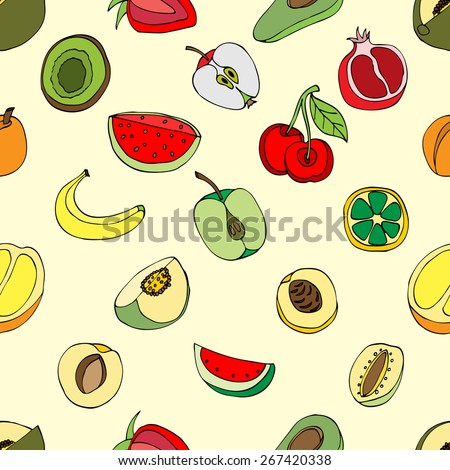 Vector Seamless Pattern of Sketch Fruits - stock vector