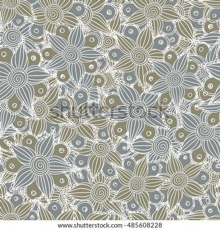 Vector seamless pattern of stylized floral motif, flowers, hole, spots, doodles in gray colors. Hand drawn. Seamless floral background.