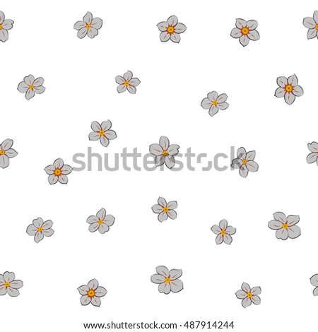 Vector seamless pattern of stylized floral motif, many small flowers, hole, spots on white background. Hand drawn small gray flowers. Seamless floral background in gray colors.