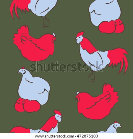 Vector seamless pattern of stylized rooster, hen, cock, chicken with hole and spots on colored background. Hand drawn. Colorful seamless cock and hen background.
