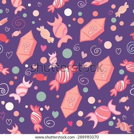 Vector seamless pattern of sweets and candies on dark violet background. Bright colors and doodle elements for your design. - stock vector