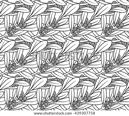 Vector seamless pattern of tropic plant - stock vector