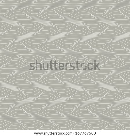 Vector seamless pattern of wavy thin lines. Geometric decorative grey background with visual effect of volume folds. Simple ornamental illustration with texture of covering for print, web