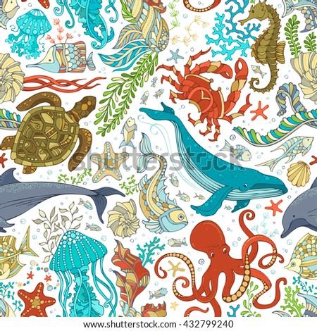 Vector seamless pattern of wild sea life. Cartoon octopus, whale, dolphin, turtle, fish, starfish, crab, shell, jellyfish, seahorse, algae. Underwater animals and plants.