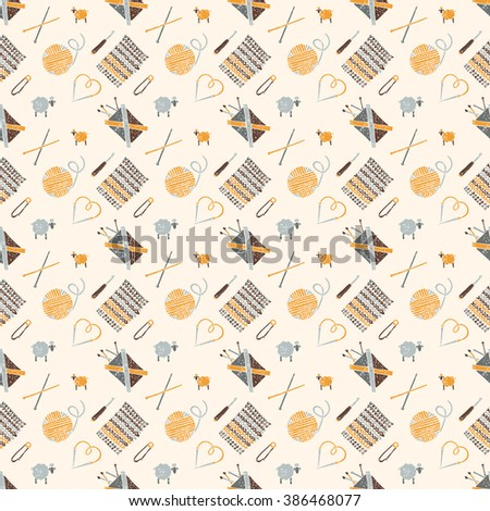 Vector seamless pattern on a knitting theme in brown, knitting accessories