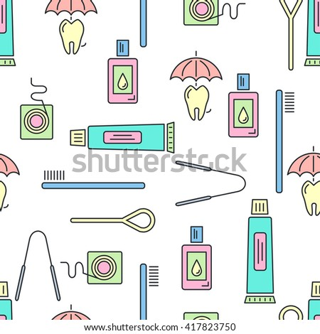 Vector seamless  pattern on oral hygiene theme. All objects are conveniently grouped  and are easily editable.