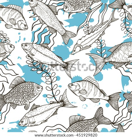 Vector seamless pattern on the sea theme. Line silhouettes of different fish. Sketches silhouettes handmade: bream, carp, trout, salmon, sturgeon, perch