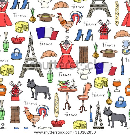 set hand drawn french icons paris stock vector 345651278. Black Bedroom Furniture Sets. Home Design Ideas