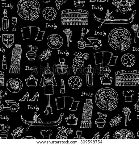 Vector seamless pattern on the theme of Italy. Pattern with symbols of Italy on black color - pizza, olive oil, wine, fashion, pasta. Background for use in design, web site, packing, textile, fabric - stock vector