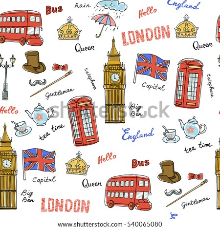 Vector seamless pattern on the theme of United Kingdom. Pattern with isolated symbols of England.Hand-drawn sketch with crown,Big Ben, red bus,flag,pot, words:London,England,rain,capital,Queen,hello