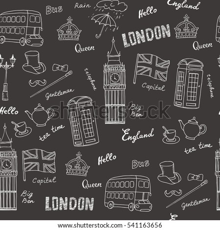 Vector Seamless Pattern On The Theme Of United Kingdom With Isolated Symbols England