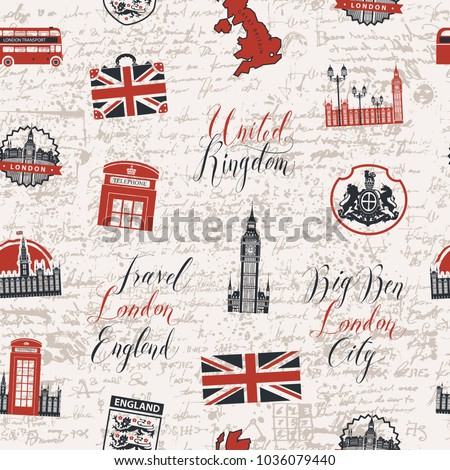 Vector seamless pattern on uk and london theme with inscriptions british symbols landmarks and