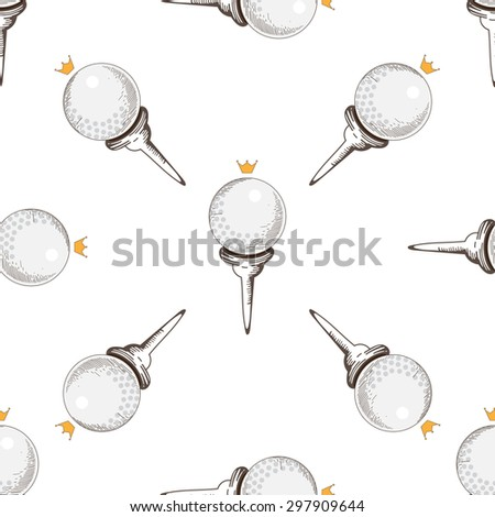 Vector seamless pattern. Pattern with golf elements background. Golf - seamless background. Background for use in design, web, packing, textile. golf, clubs, ball, bag