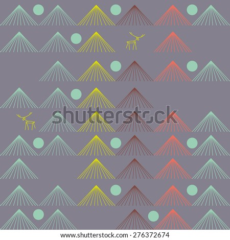 Vector seamless pattern. Repeating abstract background. Deer in the wood.  - stock vector