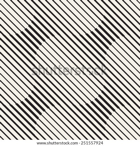 Vector seamless pattern. Repeating striped linear texture. Stylish wavy background with diagonal lines of different thickness - stock vector
