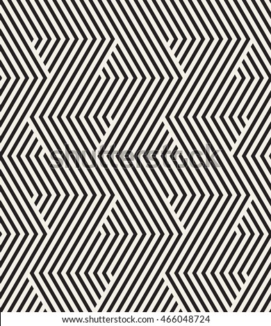 Vector seamless pattern. Repeating stylish texture. Striped monochrome zigzag. Graphic geometric background.