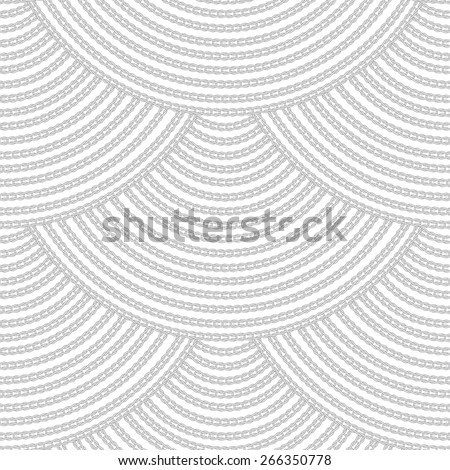 Vector seamless pattern. Scaly ornament from grey knitted loops and chains on white background - stock vector