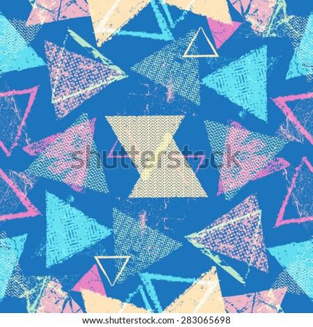 Vector Seamless Pattern . Seamless Texture . Triangle Geometric Shapes in Grunge Style . Vintage texture. - stock vector