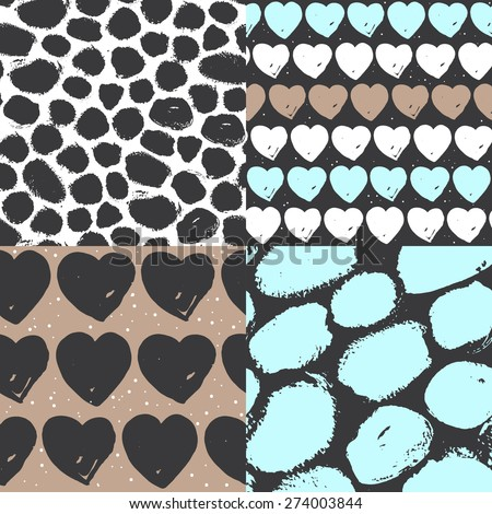 Vector seamless pattern set. Calligraphic brush spots and hearts. Blue, beige, white and black. Use for wedding, birthday invitations, wallpaper, pattern fills, web page background, surface textures. - stock vector