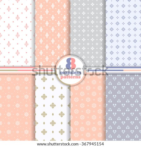 Vector seamless pattern. Set of eight luxury elegant textures. Patterns can be used as background, fabric print, surface texture, wrapping paper, web page backdrop, wallpaper and more - stock vector