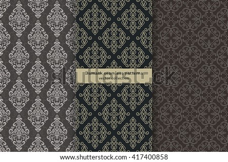 Vector seamless pattern. Set of luxury elegant damask textures. Patterns can be used as background, fabric print, surface texture, wrapping paper, web page backdrop, wallpaper and more - stock vector