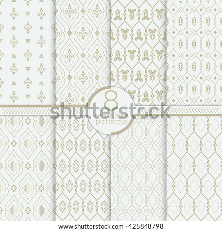 Vector seamless pattern. Set of luxury organic textures. Patterns can be used as background, fabric print, surface texture, wrapping paper, web page backdrop, wallpaper and more - stock vector