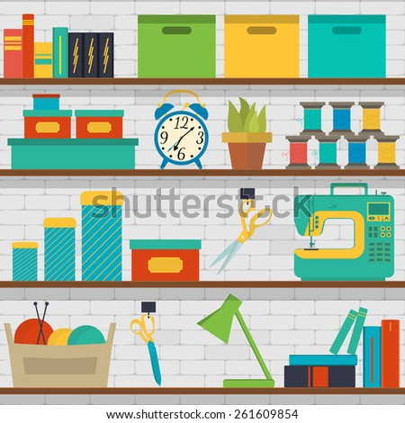 Vector seamless pattern shelf with tools for sewing and knitting, craft tools - stock vector