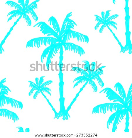 Vector seamless pattern silhouette of palm trees.