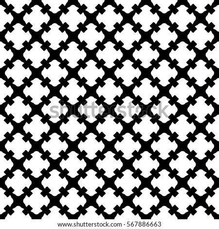 Vector Seamless Pattern Simple Black White Geometric Texture Endless Ornamental Background Retro