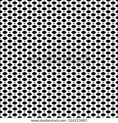 Vector Seamless Pattern Simple Black White Geometric Texture Monochrome Illustration On Mesh