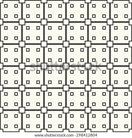 Vector seamless pattern. Stylish fabric print with squares and lines. Simple geometric background.