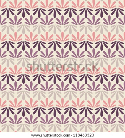 Vector seamless pattern. Stylish floral texture. Repeating background with floral pastel stripes - stock vector