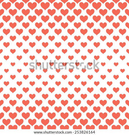 Vector seamless pattern. Stylish monochrome texture. Geometric structure from unequal sized hearts. Different sized elements changes towards the center. Stylish print for St. Valentine's Day