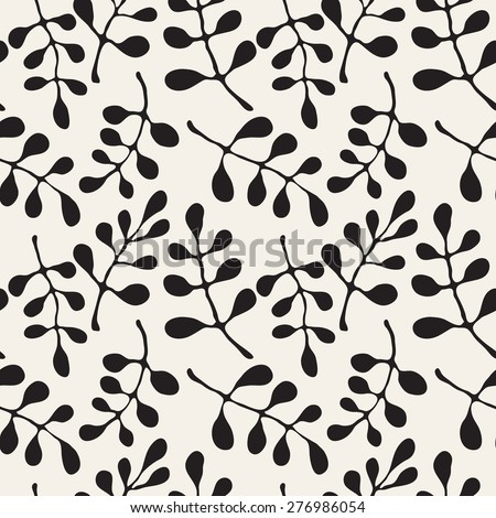 Vector seamless pattern. Stylish repeating texture. Floral monochrome texture with randomly disposed smooth leaves. Modern graphic design. - stock vector