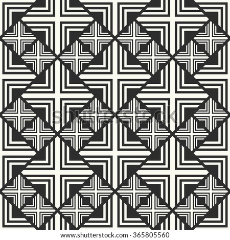 Vector seamless pattern. Stylish textile print with geometric ethnic design. Black and white fabric background. Displacement illusion seamless pattern. - stock vector