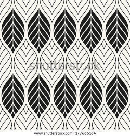 Vector seamless pattern. Stylish texture. Endless floral background with geometric leaves - stock vector
