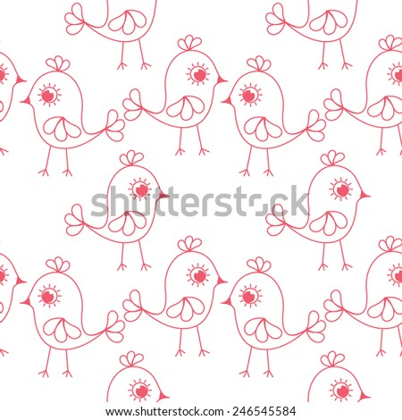 Vector seamless pattern. Sweet childish background. Cute texture with chicks. - stock vector
