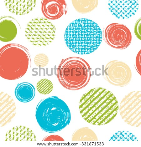 Vector Seamless Pattern Texture . Grunge Circle Shapes.