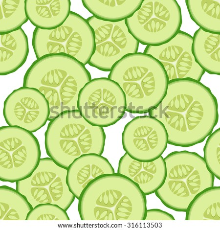 Vector seamless pattern the cut slices of cucumbers