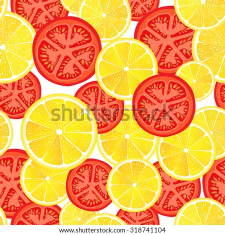 Vector seamless pattern the cut slices of lemons and tomatoes
