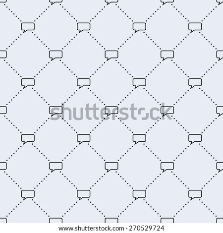 Vector seamless pattern. Tiled square background with monochrome comment speech bubble icon and dotted lines. - stock vector