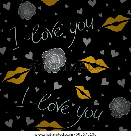 Vector seamless pattern. Valentines day hearts, love text, and flower. Hand drawn texture in yellow and gray colors on black background.