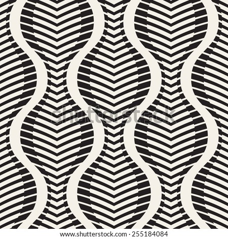 Vector seamless pattern. Wavy striped texture. Stylish corrugated background - stock vector