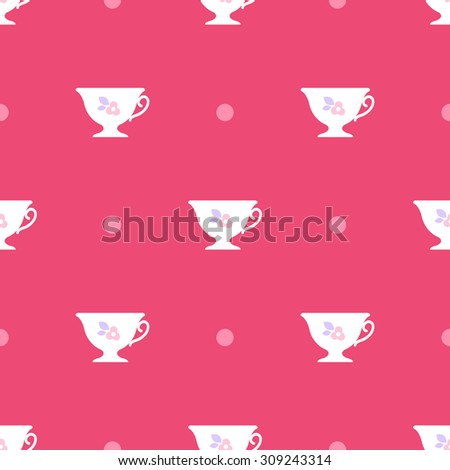 Vector seamless pattern. White cups with flowers on pink background.