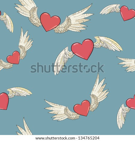 vector seamless pattern. wings and hearts - stock vector