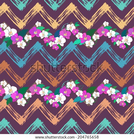 vector seamless pattern wit zigzag waves and orchids - stock vector