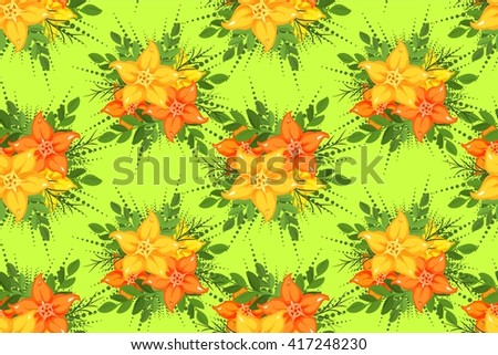 vector seamless pattern with a group of yellow flowers on a green background - stock vector
