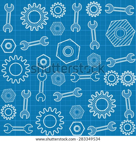 Vector seamless pattern with a wrench and  gears - stock vector